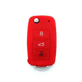 Силиконовый чехол 3 кнопки на ключ Good Idea VW/Skoda Красный (5019ksi2711)