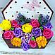 Букет в конверті з мильних троянд і хризантем. Букет із мила. Подарунок мамі, вчительці, подрузі, дружині, фото 2