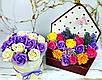 Букет в конверті з мильних троянд і хризантем. Букет із мила. Подарунок мамі, вчительці, подрузі, дружині, фото 5