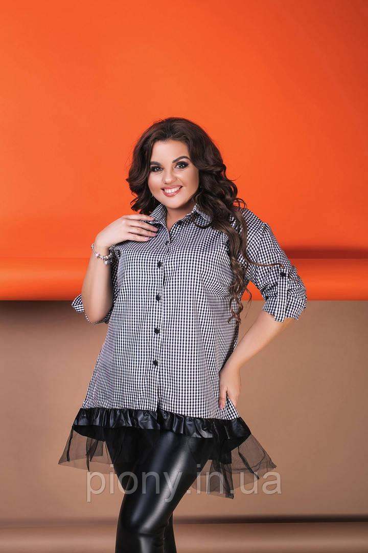 Женское Платье-Рубашка с сеткой Батал