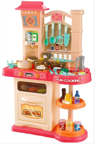 Детская кухня Bozhi Toys Fun Cooking 838, световые и звуковые эффекты, 39 предметов, течет вода, холодный пар Розовый