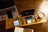 Деревянный Органайзер на ножках, органайзер в офис, подарок начальнику, подставка для планшета