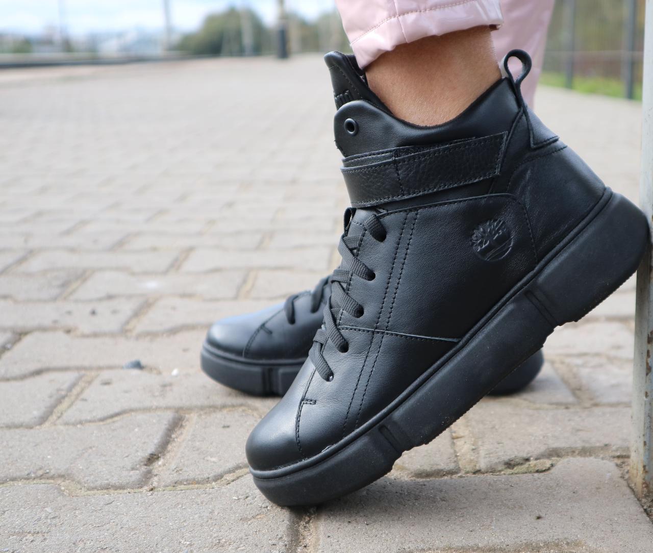 Ботинки женские Road-style БС105-01К черные (натуральная кожа, зима)