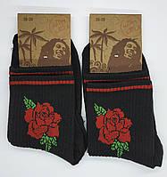 """Носки женские средней высоты """"Розы"""". Черный цвет. (Розница)."""