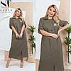 Льняное женское платье рубашка (6 цветов) ЕК/-1419 - Хаки