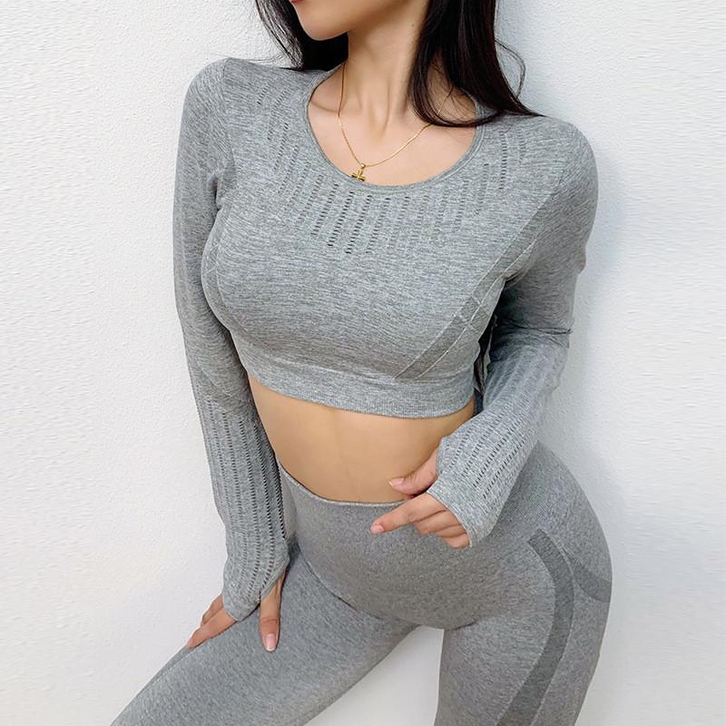 Женский спортивный топ-кофта для фитнеса серый 4343