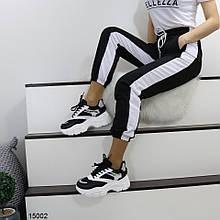 Кроссовки женские черно-белые эко-кожа+текстиль А15002