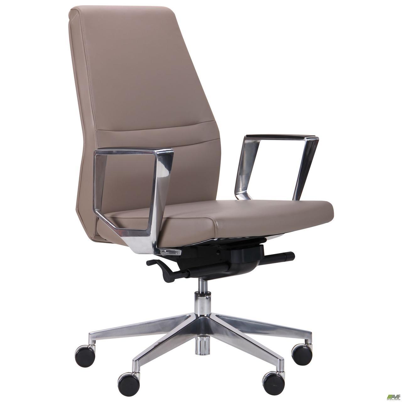 Кресло офисное кожаное AMF Larry LB  светло-серое