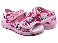 Тапочки для девочки на липучках Waldi Панда розовый рр. 23-30