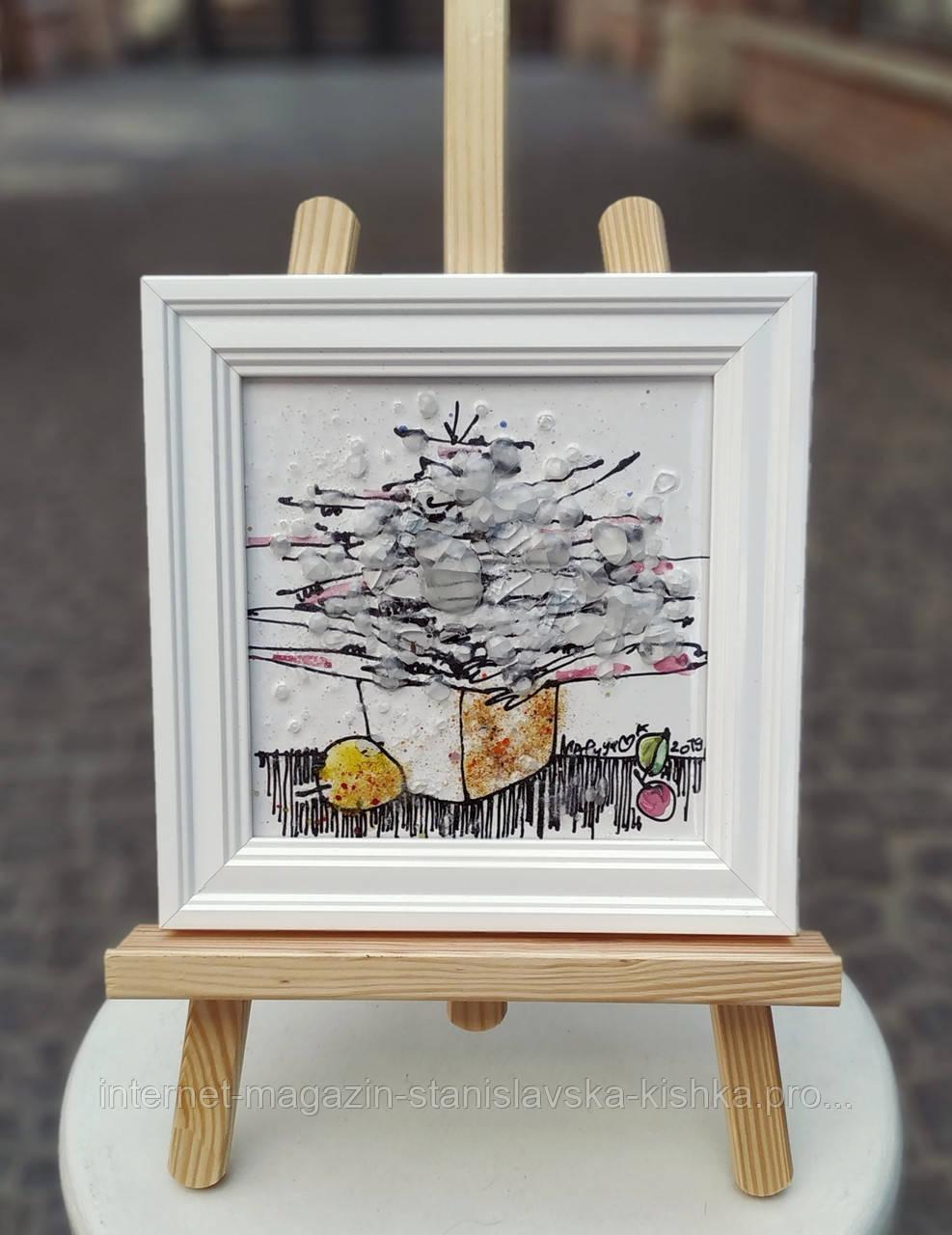 Картина склом БУКЕТ- БІЛИЙ ВАЛЬС кераміка живопис