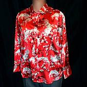 Блуза женская Marks Spencer, красный атлас, пижамный стиль воротника, большой размер 18(50\52)