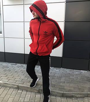 Спортивный костюм Adidas красный с черным. Адидас