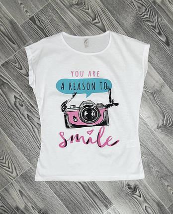 Женская футболка фотик белая, фото 2