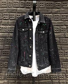 Мужская джинсовая куртка темно черная