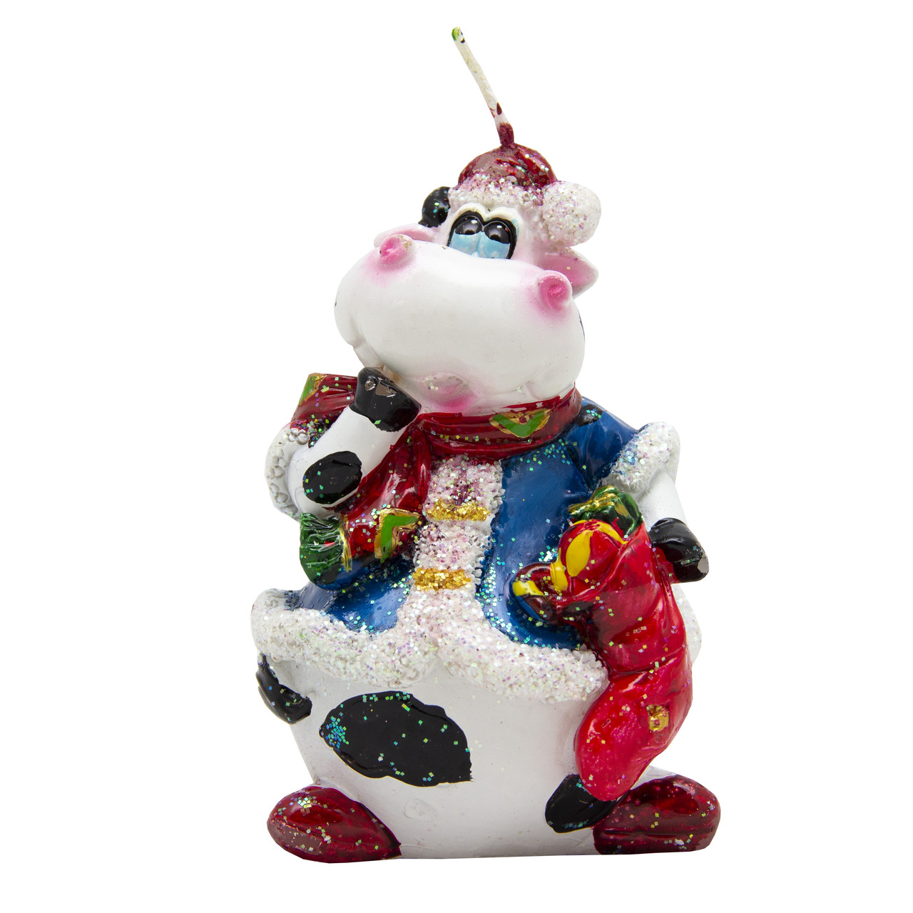 Свечка декоративная Бычок с красным мешком, 9, 5см (011445-3)