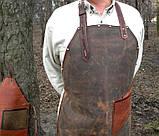Фартук кожаный стимпанк бармену официанту гриль мастеру флористу кузнецу  подарок., фото 7