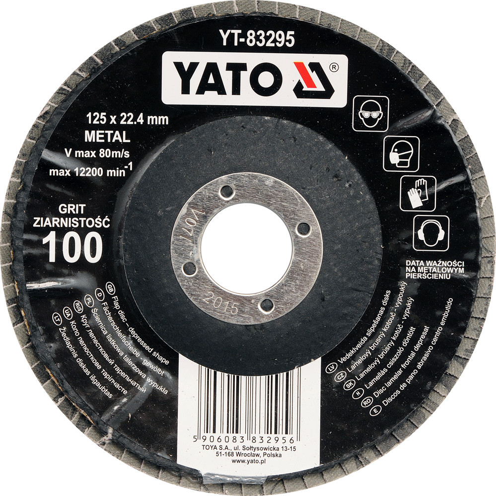 Круг шлифовальный лепестковый выпуклый YATO ALUMINIUM OXIDE К36 125 х 22.4 мм