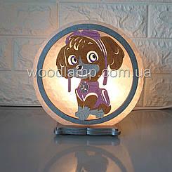 Соляна лампа кругла Собака Скай кольорова