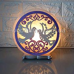 Соляна лампа кругла Голуби кольорова