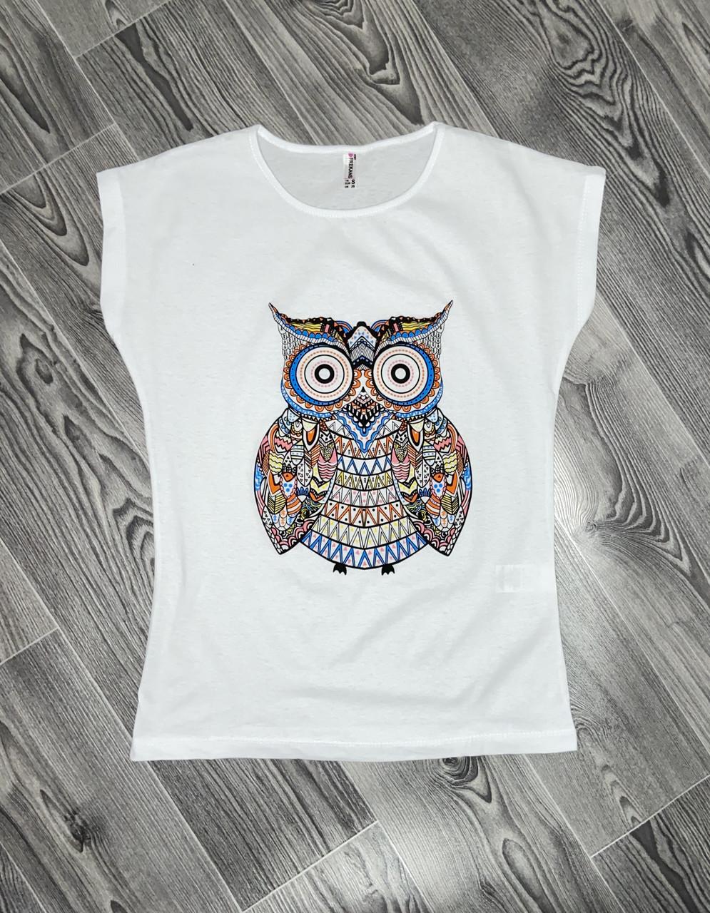 Женская футболка сова белая