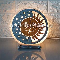 Соляной светильник круглый День-Ночь цветной