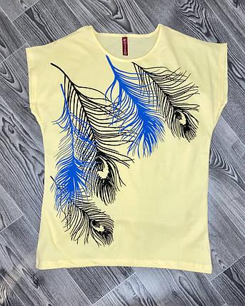Женская футболка  перья желтая, фото 2