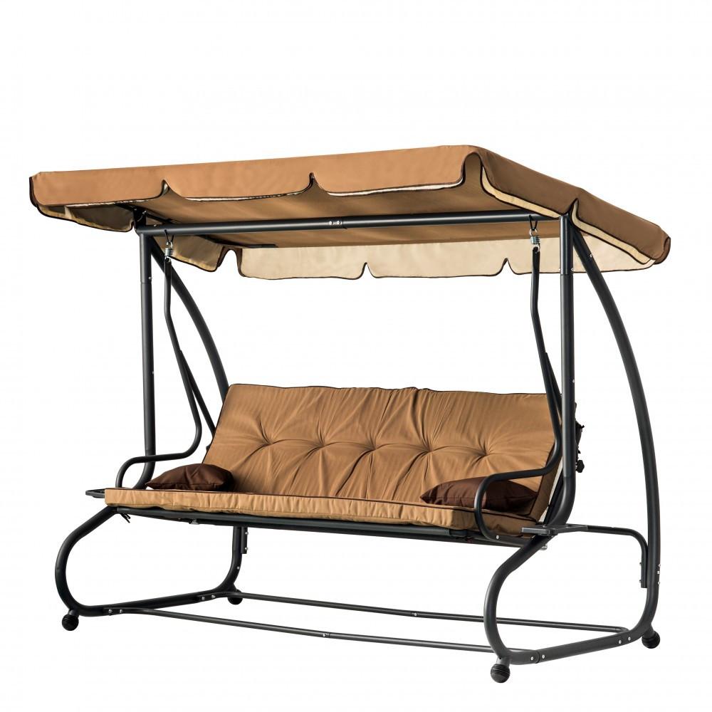 Садовая КАЧЕЛЬ ГОЙДАЛКА Диван раскладная  Relax Plus (250 кг нагрузка) Бежевая