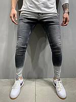 Джинсы мужские серые модные молодежные зауженные к низу мужские серые штаны джинсовые 32,34 размер