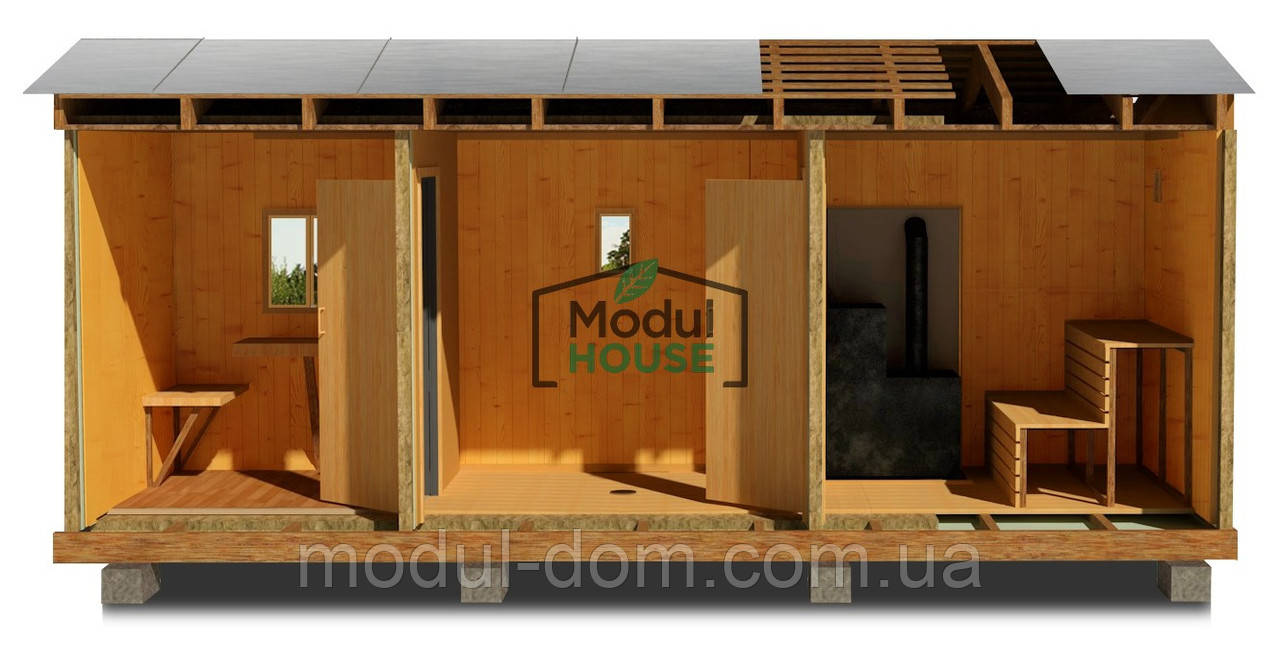 Каркасная модульная баня, баня под ключ