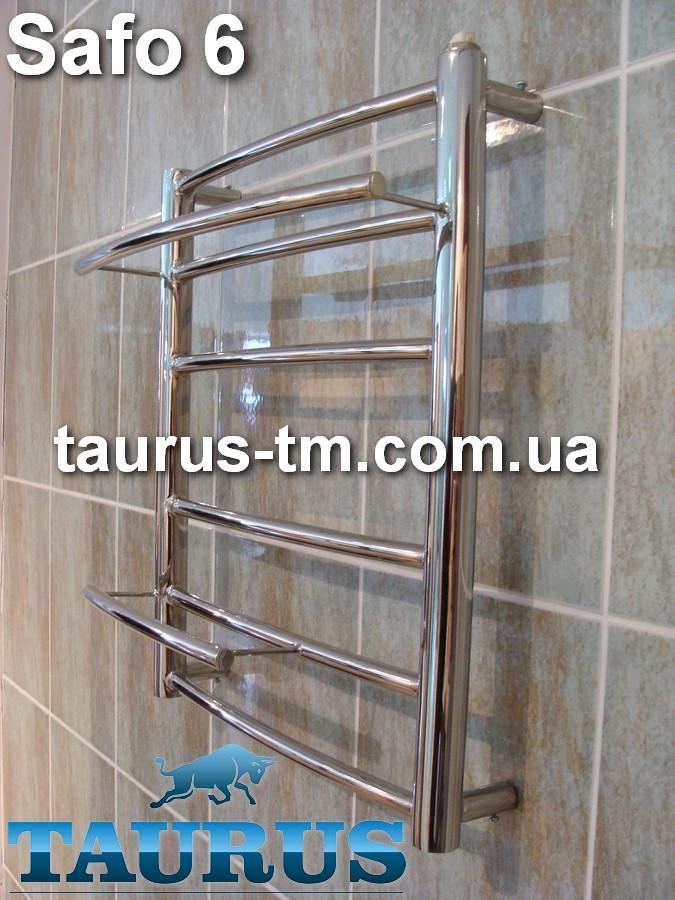 Небольшой н/ж полотенцесушитель Safo 6/500х450 мм для ванной комнаты с полочками 2шт. d16