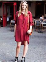 Платье- рубаха льняное свободного кроя, цвет разный. Ассиметричное платье, фото 1