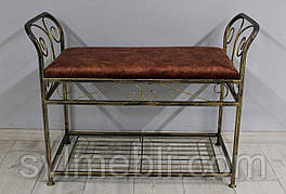 Банкетка кованая Версаль маленькая велюр  медный мраморный каркас черное золото