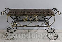 Банкетка кованая Сицилия большая жаккард коричневый вензель каркас черное золото