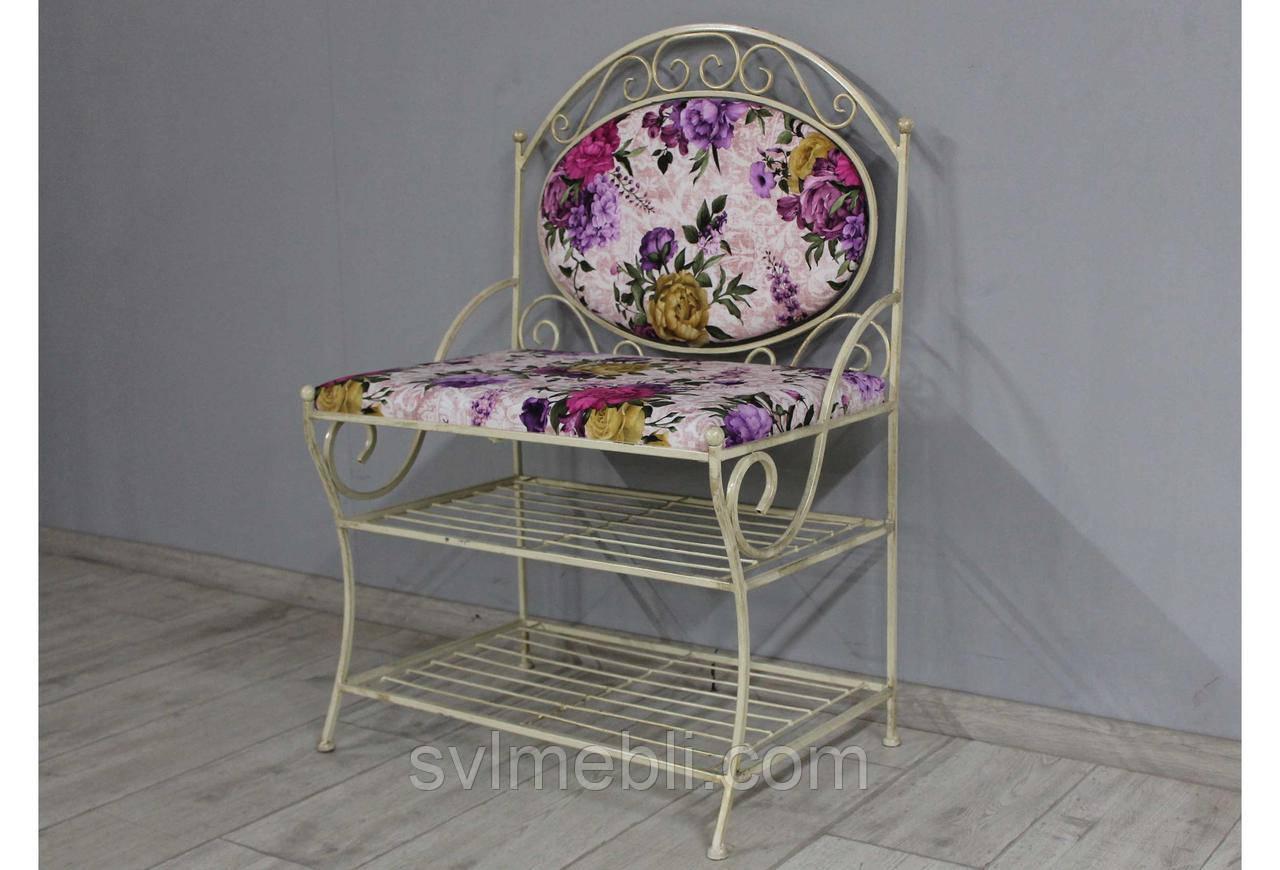 Диван кованый Марсель велюр фиолетовые цветы каркас бежевое золото