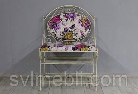 Диван кованый Марсель велюр фиолетовые цветы каркас бежевое золото, фото 2