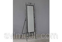 Зеркало кованое напольное черное серебро