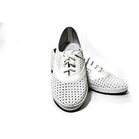 Женские туфли комфорт Prellesta белые из натуральной кожи с перфорацией