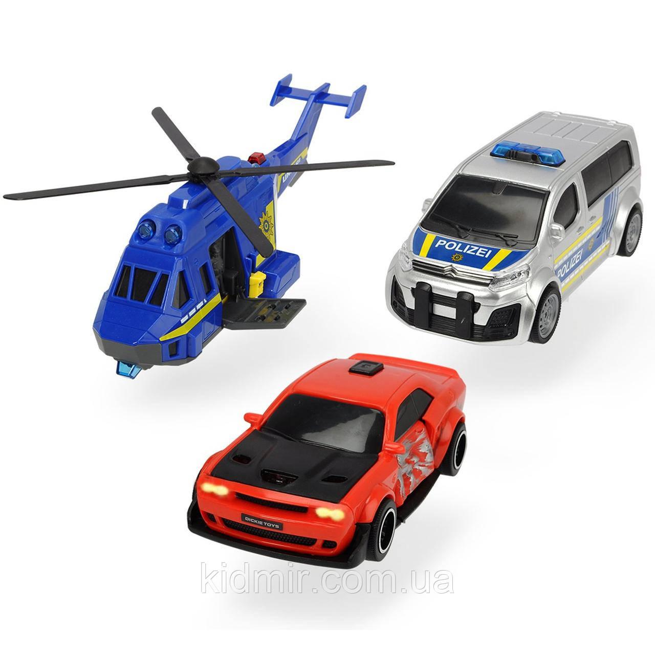 Ігровий набір Поліційна погоня вертоліт і 2 машинки світло звук Dickie 3715011