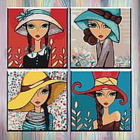 """Картина по номерам ТМ Идейка - Полиптих """"Яркие девочки"""" 18*18 см, 4 шт."""