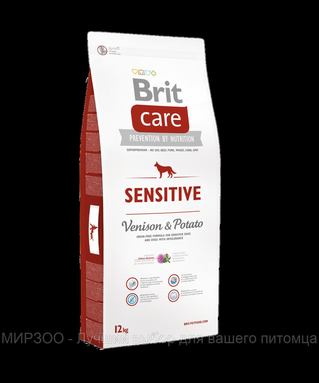 Сухой корм Brit Care Sensitive Venison & Potato Adult гипоаллергенный для собак с олениной и картошкой 12 КГ