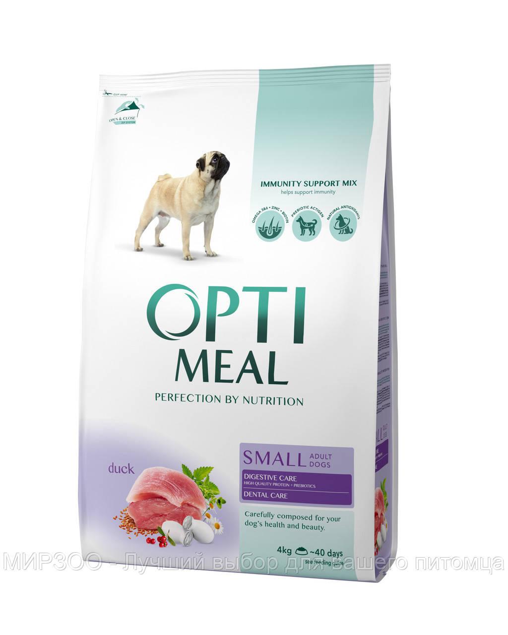 Сухой корм OPTIMEAL (Оптимил) для собак малых пород с уткой 12 КГ