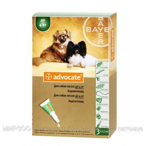 Bayer (Байер) Адвокат - для собак до 4 кг (3 пипетки*0,4мл)