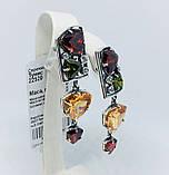 Сережки з кольоровими фіанітами срібло Туніс, фото 2