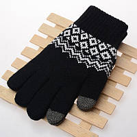Вязанные перчатки для сенсорных экранов iTouch Черный с орнаментом