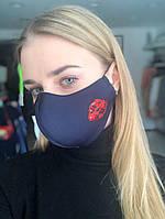 Многоразовая стильная маска RicaMare с авторской вышивкой Губки (hub_bnmnr3)