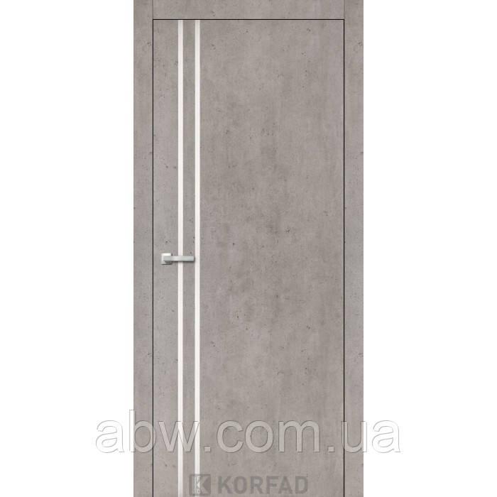 Межкомнатная дверь Korfad ALP-01 лайт бетон c молдингом