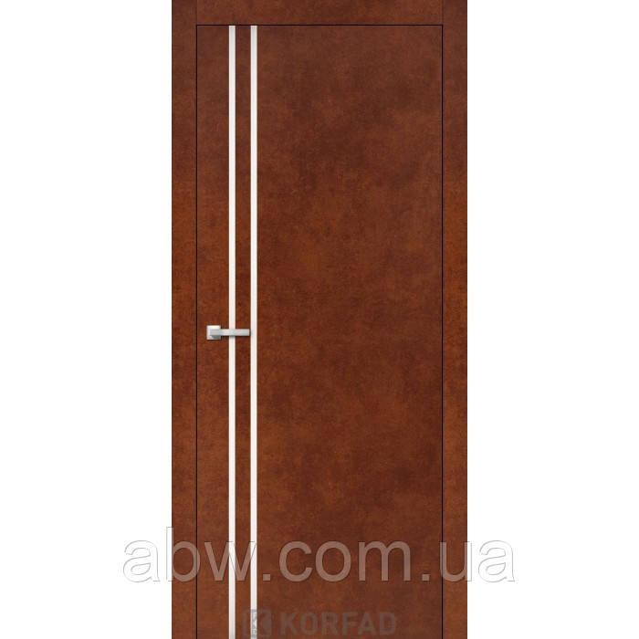 Межкомнатная дверь Korfad ALP-01 сталь кортен с молдингом