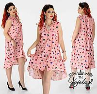 Літнє плаття-сорочка батал з асиметричним низом р. 48-54. Арт-2150/42, фото 1