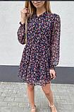 Воздушное шифоновое платье с широкой юбкой с рюшами, 3цвета. Р-р.S, M, L Код 511Т, фото 4