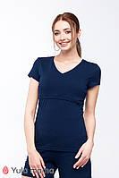 Трикотажная футболка для кормящих мам р. 42-50 ТМ Юла Мама IVANNA NR-20.031 Темно-синий